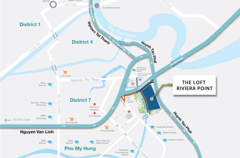 Vị trí địa chỉ dự án căn hộ The Lofts Riviera Point tại quận 7.